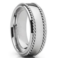 "8 mm Tungsten Rings - Rope Design with Steel Inlays ""Silver Rope"""