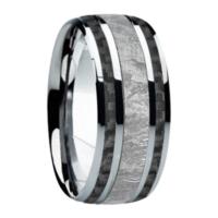 """9 mm Meteorite in Titanium Ring """"Black Jazz"""""""