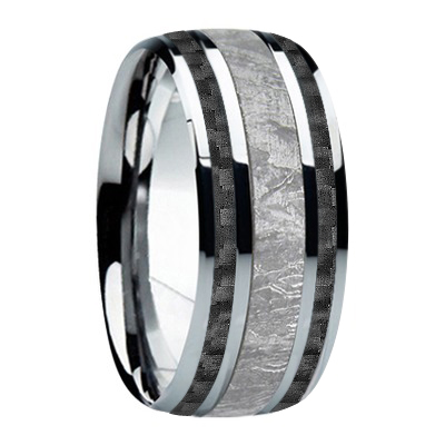 "9 mm Meteorite in Titanium Ring ""Black Jazz"""